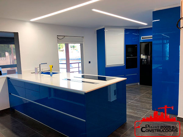 Beautiful, modern and functional kitchen of intense blue